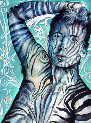 Young Man Drawing - Strength In Blue Stripes, Zebra Boy #6 by Rene Capone