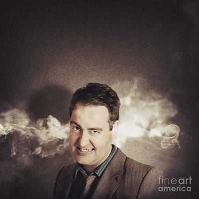 Steaming Photograph - Stressed Businessman With Steaming Hot Headache by Jorgo Photography - Wall Art Gallery
