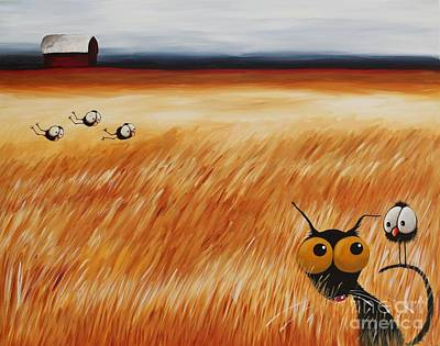 Flock Of Bird Painting - Stressie Cat And Crows In The Hay Fields by Lucia Stewart