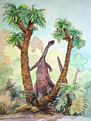 Triassic Painting - Stretching For Lunch by Dennis Naumick