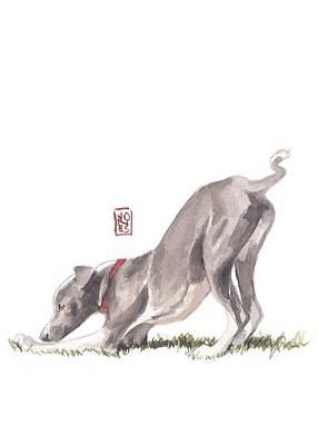 Greyhound Art Painting - Stretching Italian by Debra Jones
