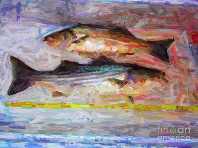Large Mouth Bass Digital Art - Striped Bass Keepers by Wingsdomain Art and Photography