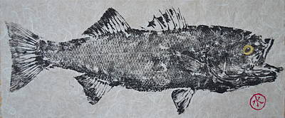 Striped Bass On Bright White Thai Unryu / Mulberry Paper Print by Jeffrey Canha