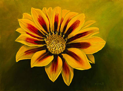Mums Painting - Striped Beauty by Zina Stromberg