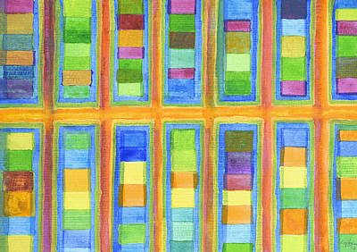 Grid Painting - Striped Color Fields In Orange Grid by Heidi Capitaine