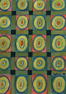 Grid Painting - Strong Green Grid Filled With Yellow Circles by Heidi Capitaine