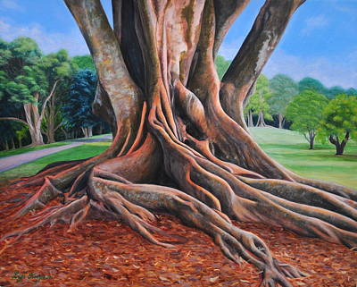 Surreal Painting - Strong Roots Cornwall Park by Lyn Simpson