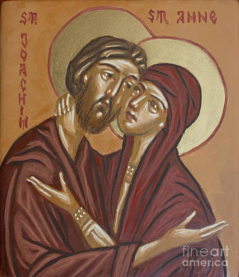 Handpainted Icon Painting - Saints Joachim And Anna by Olimpia - Hinamatsuri Barbu