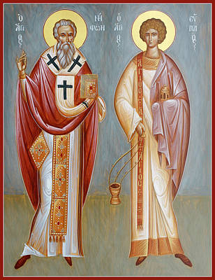 Byzantine Icon Painting - Sts Niphon And Evplos by Julia Bridget Hayes
