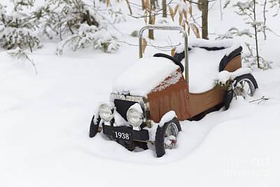 Headlight Photograph - Stuck In A Snowstorm by Edward Fielding