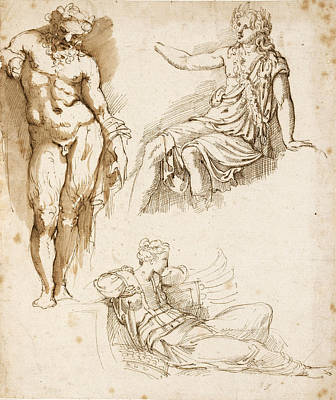 Drawing - Studies After The Antique. A Standing Silenus A Seated Apollo And A Fallen Warrior by Girolamo da Carpi