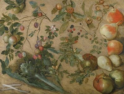 Asparagus Painting - Studies Of Apples by Jan Brueghel