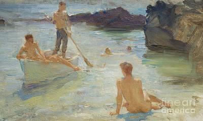 Homo-erotic Painting - Study For Morning Splendor by Henry Scott Tuke