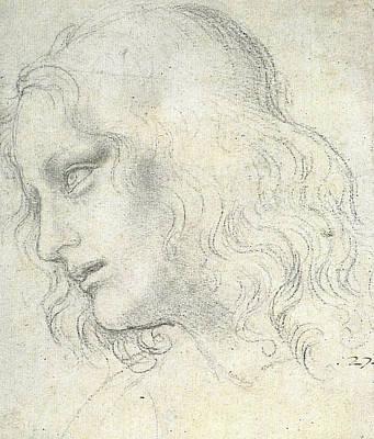 Study Drawing - Study For The Last Supper, James by Leonardo da Vinci