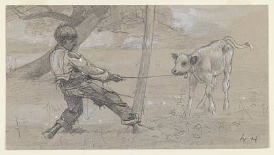 Winter Painting - Study For The Unruly Calf by Winslow Homer