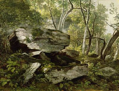Study From Nature   Rocks And Trees Print by Asher Brown Durand
