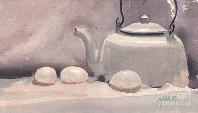 Teapot Painting - Study In White by Donald Maier