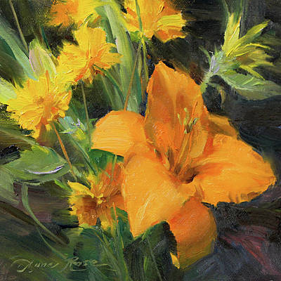 Lilies Painting - Study In Yellow by Anna Rose Bain