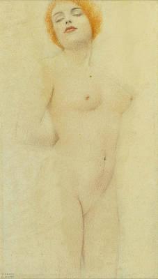 Fernand Khnopff Drawing - Study Nude by Fernand Khnopff