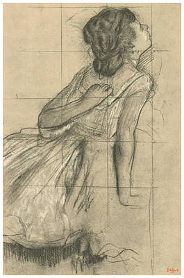 Impressionism Drawing - Study Of A Dancer Scratching Her Back by Edgar Degas