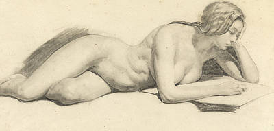 Novel Drawing - Study Of A Female Nude Reading by Daniel Maclise