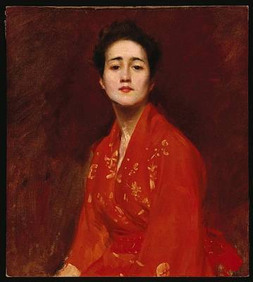 Woman In Red Dress Painting - Study Of A Girl In Japanese Dress by William Merritt