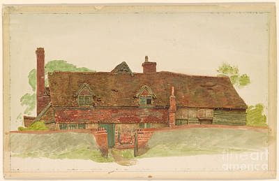 House Painting - Study Of A Long Cottage With Dormer Windows  by Kate Greenaway