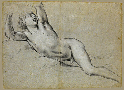 Drawing - Study Of A Naked Youth With Raised Arms by Lorenzo De Ferrari