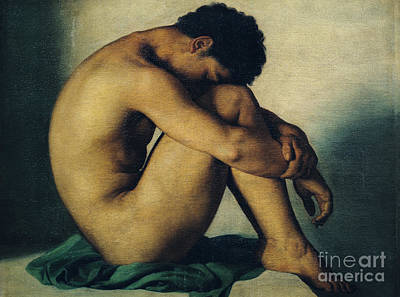 Athletic Painting - Study Of A Nude Young Man by Hippolyte Flandrin