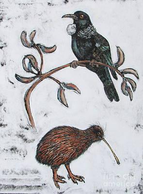 Kiwi Mixed Media - Study Of A Tui And A Brown Kiwi by Pamela Iris Harden