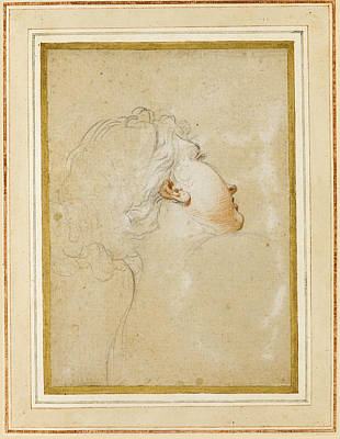 Drawing - Study Of A Young Woman's Head And Shoulders Seen From Behind Her Face Partly In Profile by Attributed to Antonio Domenico Gabbiani