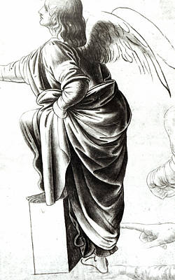 Religious Drawing - Study Of An Angel  by Leonardo Da Vinci