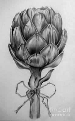 Artichoke Drawing - Study Of An Artichoke by Angela Cartner