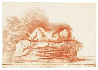 Giovanni Francesco Barbieri Painting - Study Of An Infant In A Basket by MotionAge Designs