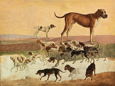 Jacques Laurent Agasse Painting - Study Of Dogs by Jacques-Laurent Agasse