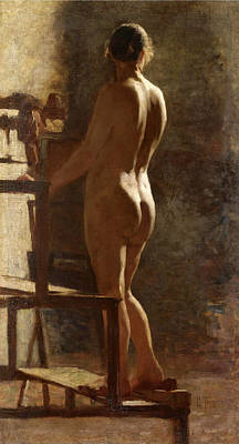 Painting - Study Of Female Nude by Giacomo Favretto