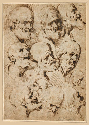 Drawing - Study Of Heads Of Apostles by Antonio del Castillo y Saavedra
