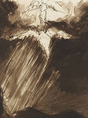 Charcoal Landscape Drawings Drawing - Study Of Jacob's Dream by John Constable