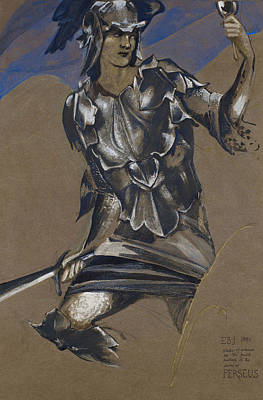 Perseus Drawing - Study Of Perseus In Armour For The Finding Of Medusa by Edward Burne-Jones