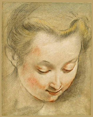 Drawing - Study Of The Head Of A Young Woman Looking Down To The Right by Federico Barocci