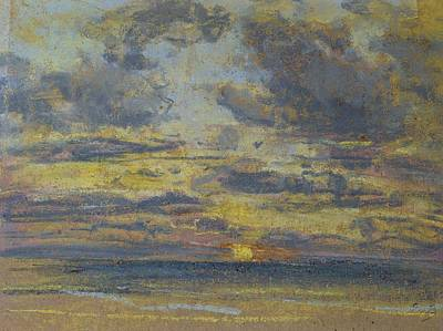 Study Of The Sky With Setting Sun Print by Eugene Louis Boudin