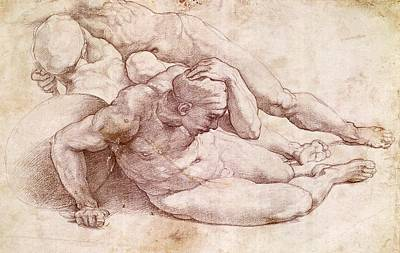 Figures Painting - Study Of Three Male Figures by Michelangelo