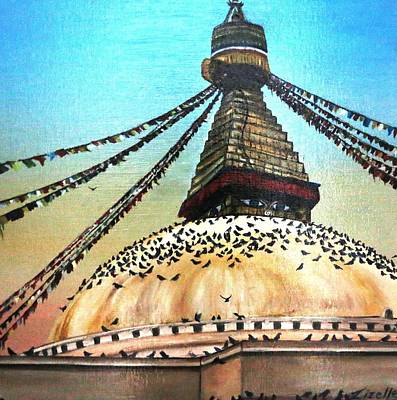 Nepal Cultural Painting - 'stupa' by Lizelle Engelbrecht