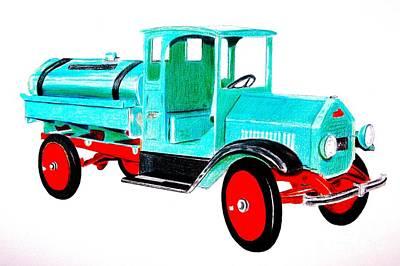 Cast Iron Drawing - Sturdi Sprinkler Truck by Glenda Zuckerman