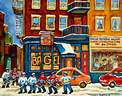 Kids Playing Hockey Painting - St.viateur Bagel Hockey Montreal by Carole Spandau