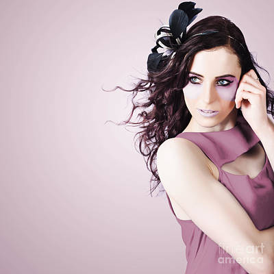 Stylish Portrait Of Fashion Girl In Purple Makeup Print by Jorgo Photography - Wall Art Gallery