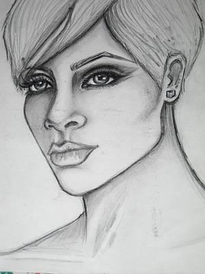 Rihanna Drawing - stylized portrait of Rihanna by Dana Biviano