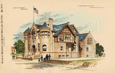 Sub Police Station. Chestnut Hill Pa. 1892 Print by John Windrim