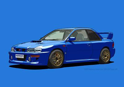 Subaru Impreza 22b Sti Type Uk Sonic Blue Print by DigitalCarArt