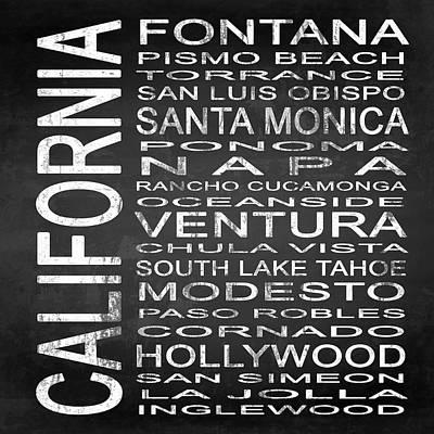 Santa Monica Mixed Media - Subway California State 5 Square by Melissa Smith